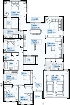 Ideas Home Library Room Layout Master Bedrooms Bedroom House Plans, Dream House Plans, Modern House Plans, House Floor Plans, Home Design Floor Plans, Kitchen Floor Plans, Plan Design, Layout Design, The Plan