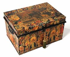 Gorgeous French Antique tin hat trunk - decoupaged