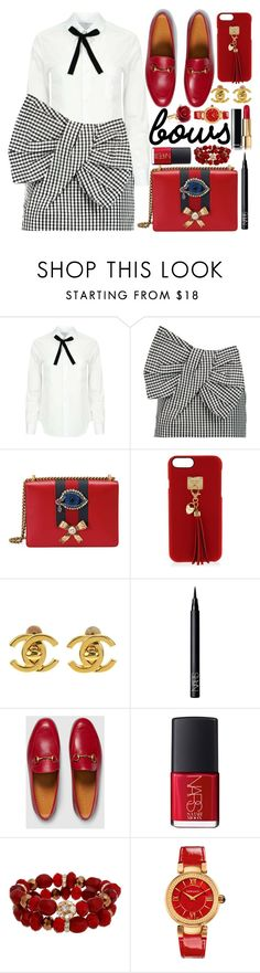 """""""Put a Bow on It!"""" by fattie-zara ❤ liked on Polyvore featuring Comme des Garçons, Marc by Marc Jacobs, Gucci, Henri Bendel, Chanel, NARS Cosmetics, Mixit, Versace, Oscar de la Renta and bows"""