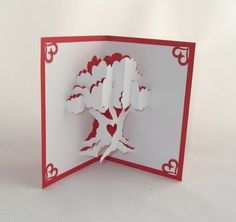 LOVE TREE VALENTINES Day 3D Pop Up Card Handmade by BoldFolds, $15.00