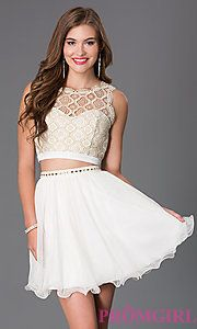 Buy Short Ivory Two Piece Sequin Hearts Dress with Lace Bodice at PromGirl