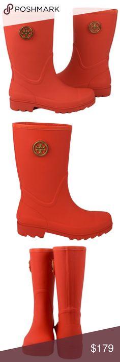 c81d4bd912bc SOLD ❤️Tory Burch Poppy Red (Orange) Rain Boots
