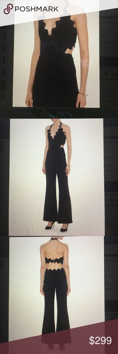 """Jonathan Simkhai Intermix jumpsuit Stunning jumper with contrast colored scallop trim. Cut out at sides of waistline with band at back. Side zip closure. Wide leg. Fabric 71% acrylic/29% polyester. Lining 100% silk. Inseam 33"""", 26"""" leg opening Jonathan Simkhai Other"""