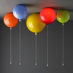 "This collection of colorful lamps designed like balloons is called ""Memory"" - Memory Balloon Ceiling Lights by John Moncrieff Balloon Ceiling, Balloon Lights, Ceiling Lights, Balloon Wall, Kids Lighting, Home Lighting, Lighting Design, Modern Lighting, Lampe Ballon"