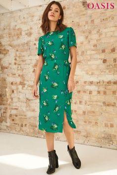 a3606258be48f6 Buy Oasis Green Butterfly Midi Dress de la Next România
