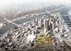 A masterplan by Bjarke Ingels Group (BIG) for Pittsburgh's Lower Hill District features buildings with sloped roofs and an extensive network of pathways