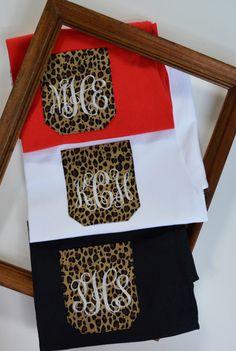 Monogram shirt, Pocket t-shirt, Cheetah Pocket shirt, Monogram Shirt, monogram Leopard pocket tee by ThePinkFlamingo8 on Etsy https://www.etsy.com/listing/203172880/monogram-shirt-pocket-t-shirt-cheetah