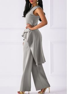 06cf6363cf3 Round Neck Asymmetric Hem Top and Grey Pants White Jumpsuit