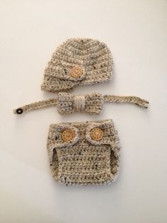 Newborn Crochet Visor Hat and Diaper Set Bowtie Set Boy Crochet Hat Set  Newborn Photo Prop Boys Item Coming Home Outfit Made to Order by ComfyCrochetBoutique on Etsy