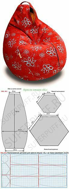 Diy beanbag chair with back; pattern and dimensions. Sewing Hacks, Sewing Tutorials, Sewing Patterns, Fabric Crafts, Sewing Crafts, Sewing Projects, Diy Projects To Try, Soft Furnishings, Diy Furniture