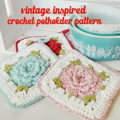 New Pattern - Vintage Inspired Crochet Flower Potholder hopscotch lane blog