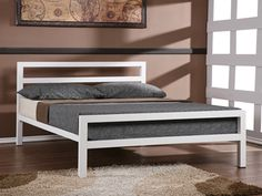 City Block Modern White Metal Double Bed Frame White metal bed frame with thick straight lines making for a modern design Cheap Double Beds, Metal Double Bed, Black Metal Bed Frame, White Metal Bed, Small Double Bed Frames, Steel Bed Frame, Double Bed Size, Wrought Iron Beds, Bed Dimensions