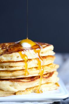 Perfect Brown Sugar Pancakes | so good, ready to make, topped with honey marscapone