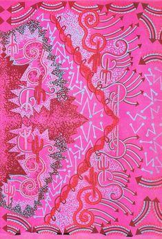 ca 1976 Zandra Rhodes 'Cactus Highway' design detail. Textiles, Textile Prints, Textile Design, Fabric Design, Surface Pattern, Surface Design, Zandra Rhodes, Textile Fiber Art, Novelty Print
