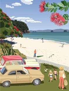 Check out Whitianga 1975 by Contour Creative Studio at New Zealand Fine Prints Bora Bora, Bali, New Zealand Art, Nz Art, Kiwiana, Vintage Travel Posters, Beach Art, Creative Studio, Surfing