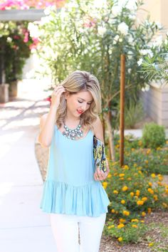 blue ruffle top, white jean outfit