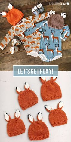From this adorable hand knit hat made from incredibly soft Icelandic yarn to the organic cotton onesie we are loving all things foxy. Shop our entire selection to make sure your little one can snuggle up in this delightful style. All that AND free sh Baby Knitting Patterns, Loom Knitting, Hand Knitting, Crochet Patterns, Knitting Projects, Crochet Projects, Hat Making, Baby Hats, Baby Boy Outfits
