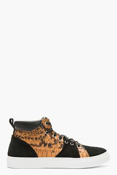Diemme Orange Pythonskin Suede-strimmed Parioli Sneakers for men