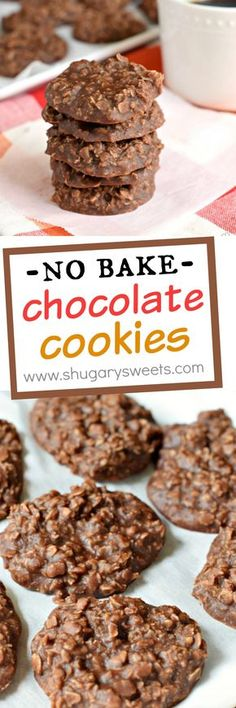 Easy recipe for No Bake Chocolate Cookies! The pea…