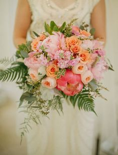 Pink peony bouquet with ferns