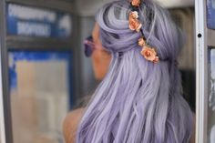 Girl With Lilac Hair, Wearing A Flower Crown/Head Wreath & (Purple?) Sunglasses