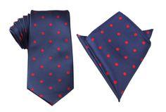 Matching Necktie + Pocket Square Combo Navy Blue with Red Polka Dots Men's Handkerchief + Neck Tie Ties Neckties Wedding Suit And Tie, Pocket Square, Polka Dots, Navy Blue, Groom Attire, Mens Fashion, Neckties, Melbourne Australia, Groomsmen