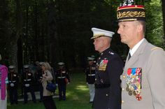 Eric Bonnemaison, Commandant of the 9th Brigade Legere Blindee de Marine, arrive at Belleau Wood for a wreath-laying ceremony at the feet of Iron Mike.