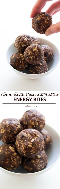 No Bake Chocolate Peanut Butter Energy Bites. Loaded with old fashioned oats, peanut butter, protein powder and flax seed. A healthy on the go protein packed snack!   chefsavvy.com #recipe #chocolate #peanut #butter #energy #bites #dessert