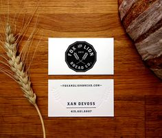 Fox and Lion Bread - Kristen Haff O Design, Brand Design, Graphic Design, Business Card Design Inspiration, Work Inspiration, Bakery Branding, Logo Branding, Letterhead, Identity Design