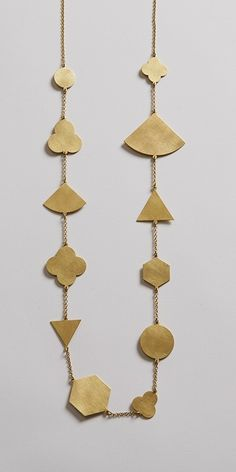 Long Multi Shape Brass Necklace via ELLA COOLEY / JEWELLERY.