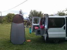 Camping shower cabin + hot shower with water heater Kampa Geyser - Trafic Aménagé - Van life fourgon