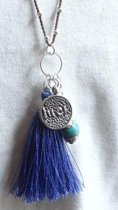 Handmade Reclaimed Blue Silk Tassel by AngelWearDesigns2013