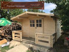 teraszos boronafalas kerti faház, 28 mm-es falvastagsággal