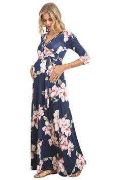 add9c39c668 Hello MIZ Women s Floral Print Draped 3 4 Sleeve Long Maxi Maternity Dress  at Amazon Women s Clothing store