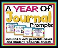 JOURNAL PROMPTS: A Year Of Journals for Middle High School