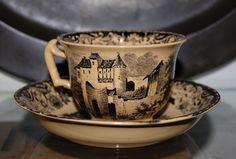 German transferware - Wallerfangen earthenware, cup and saucer, German 2nd half of the 19th Century.