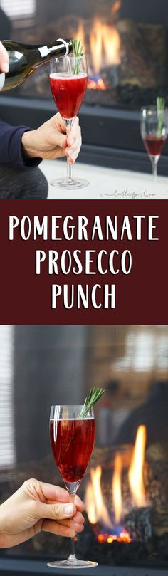 Pomegranate prosecco punch is a beautiful drink that is full of flavor! Tangy, sweet, and bubbly — everything you want in a cocktail!
