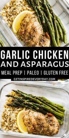 This Garlic Herb Chicken and Asparagus Meal Prep is super quick and easy to make and can also be served for dinner rather than meal prepped. It's paleo, gluten free, dairy free, and loaded with veggies. Easy Meal Prep, Healthy Meal Prep, Healthy Eating, Garlic Chicken, Baked Chicken, Dairy Free, Gluten Free, Keto Recipes, Healthy Recipes
