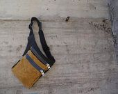 Hip Bag Waist Bag Waxed Canvas  Fanny Pack Bicycle Bag Babywearing Bag   Canvas Waist Pack Free Hands Style Festival Bag