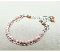 Silver and Rhodochrosite Bracelet _See now and get a off first purchase use the free deli Schmuck Design, Babyshower, Pearl Necklace, Beaded Bracelets, Watches, Pearls, Boho, Deli, Invite