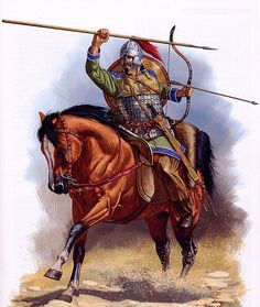 Roman horse archer VI century CE, by Johnny Shumate Military Art, Military History, Ancient Rome, Ancient History, Roman Soldiers, Classical Antiquity, Dark Ages, Roman Empire, Horses