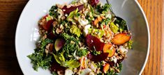 Farro Salad with Spring Vegetables and Feta Farro, 1 cup Vegetable broth or water, 2 cups Dried bay leaf, 1 Lacinato kale Small radishes Small carrots Small celery stalk Feta cheese Fresh tarragon sprigs Fresh lemon juice Small red beets,