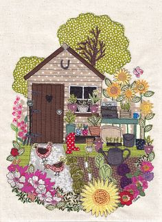 A4 print of original textile artwork 'My Garden'. Applique and free motion machine embroidery. Garden shed, flowers, allotment, chickens.