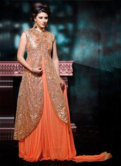 Orange Ornamental Designer Embroidered Georgette Anarkali Suit