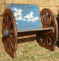 Kid's Wooden Wagon Wheel Buckboard Chair. Bench Chair For Kid's. Furniture For…