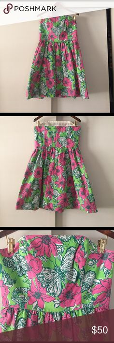 """Lilly Pulitzer Bloomin Cacoonin Lottie Dress Size 6. Bought a few years ago second hand and worn two or three times. Dress is in good condition. Faded slightly under arms, but barely noticeable. Has a lining under dress with detail """"Lilly"""" pattern.  Not looking for what I paid ($150), just looking for a good home. Make offers! Lilly Pulitzer Dresses Strapless"""