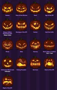 Kürbis schnitzen - Gesichter für Halloween-Kürbis. Sammlung von Ideen für gruselige und lustige Gesichter.