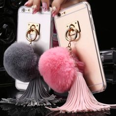 3D Rabbit Fur Ball Tassels Tail Cover For Apple iphone 5 5S 6 6S 4.7/For iphone 6/6S Plus Cute Lovely Warm Crystal Clear Case - free shipping worldwide