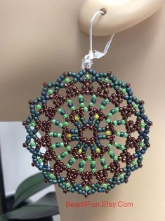 """Seed Beaded Earrings, Mandala Earrings, Name: """"Aligned With The Truth"""" Trend Earrings, Bohemian Style, Peyotoe Stitch, Handwoven by Bead4Fun on Etsy #TitaniumvsGold"""