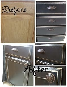 My house has cabinets just like this that I want to redo. The redo here isn't what I want, but it provokes thought.